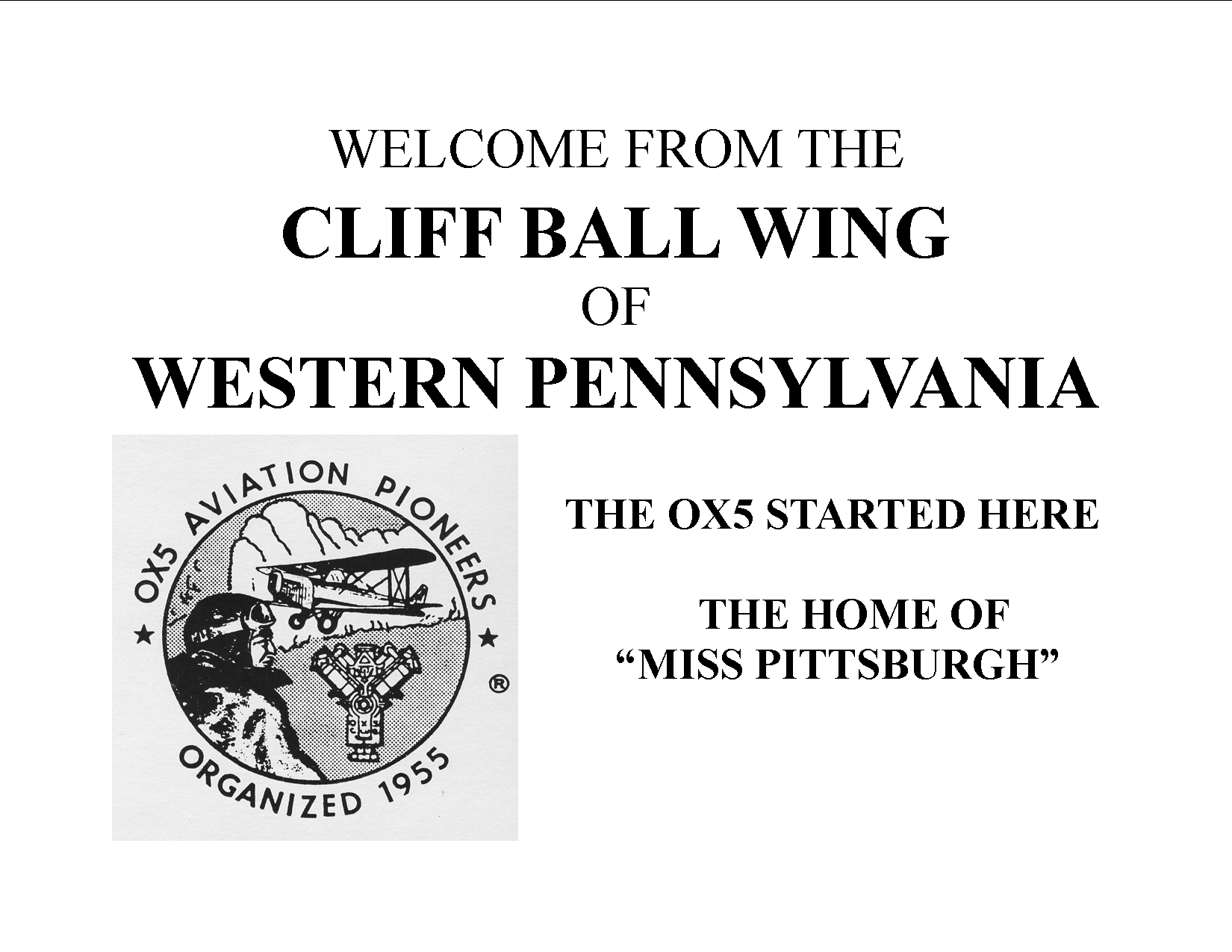 Welcome from the Cliff Ball Wing